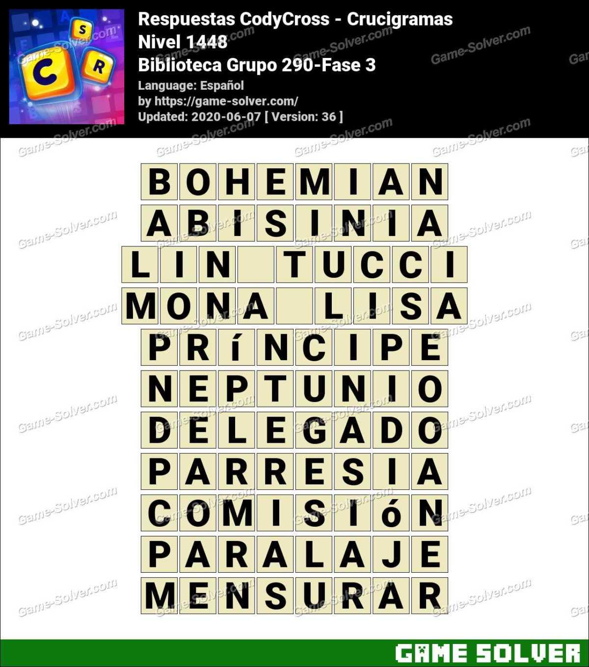 Respuestas CodyCross Biblioteca Grupo 290-Fase 3