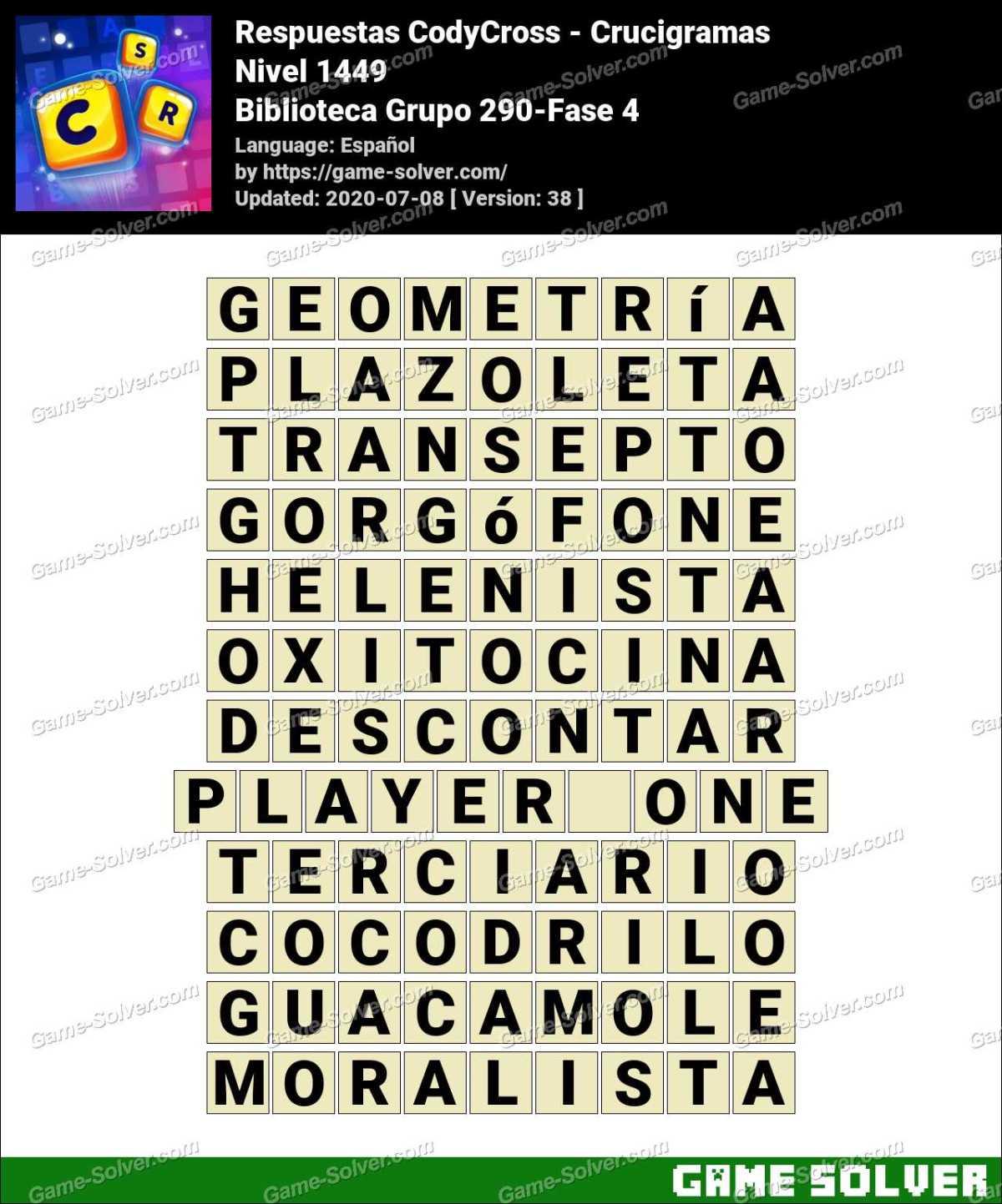 Respuestas CodyCross Biblioteca Grupo 290-Fase 4