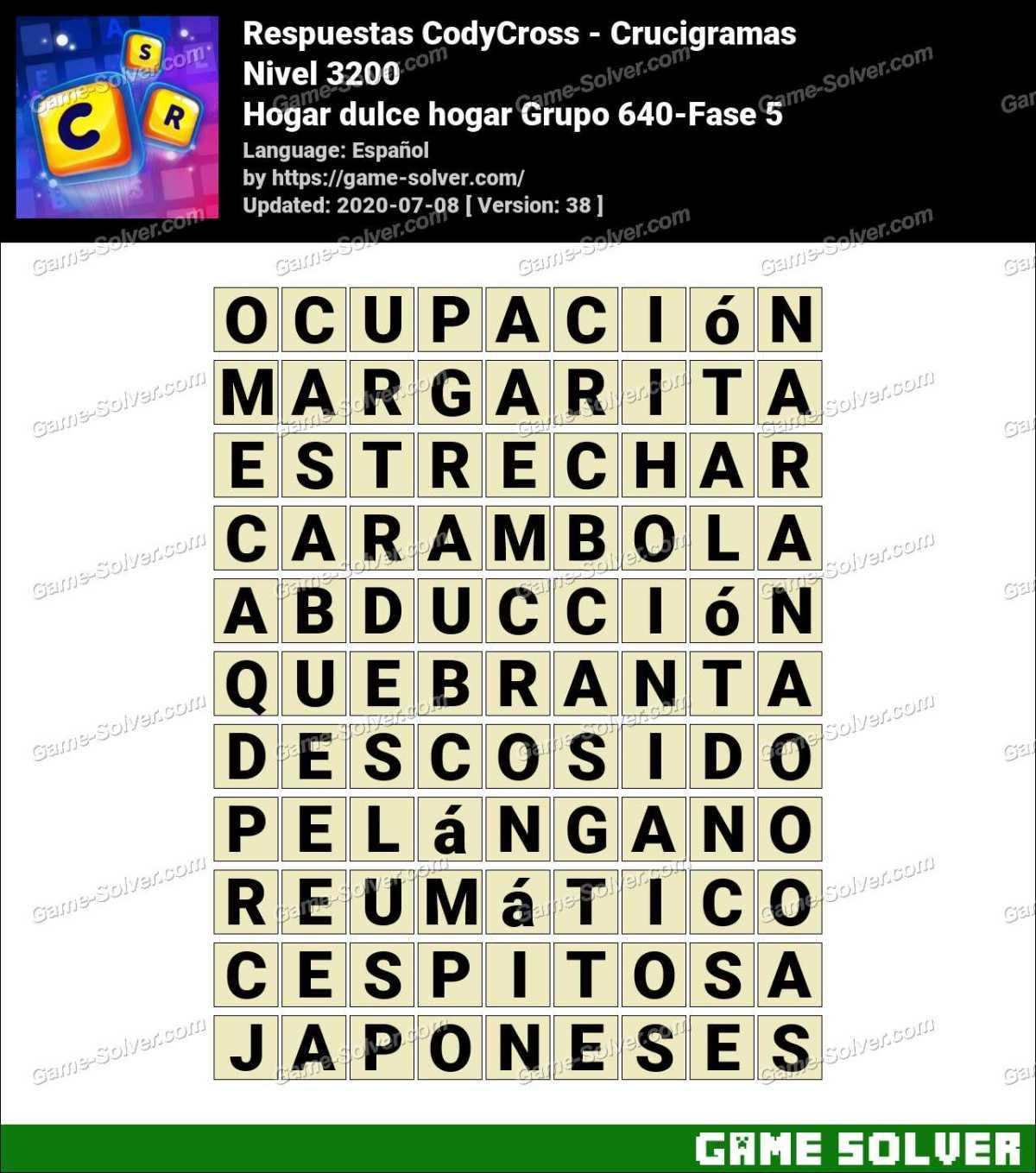 Respuestas CodyCross Hogar dulce hogar Grupo 640-Fase 5
