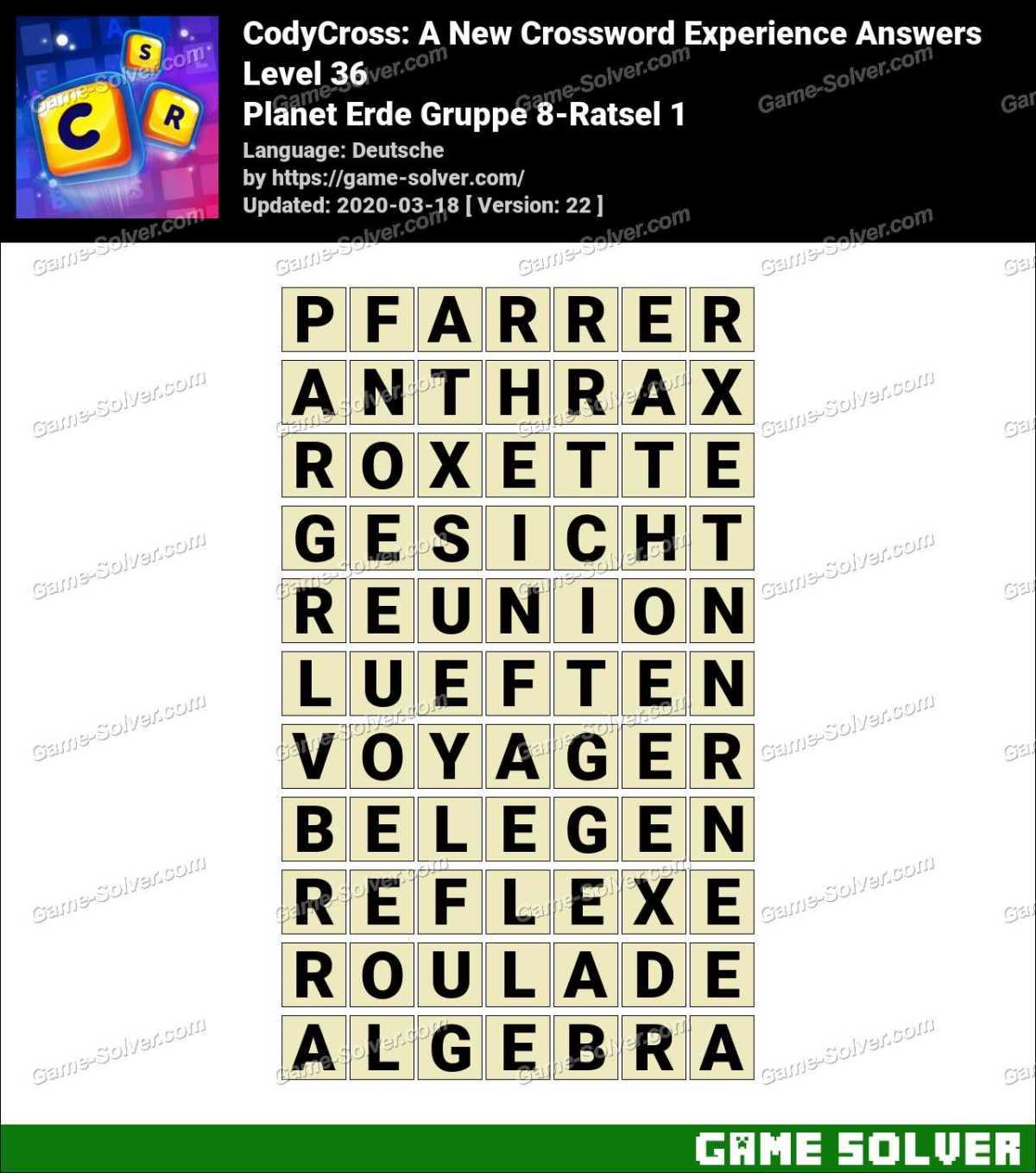 CodyCross Planet Erde Gruppe 8-Ratsel 1 Lösungen