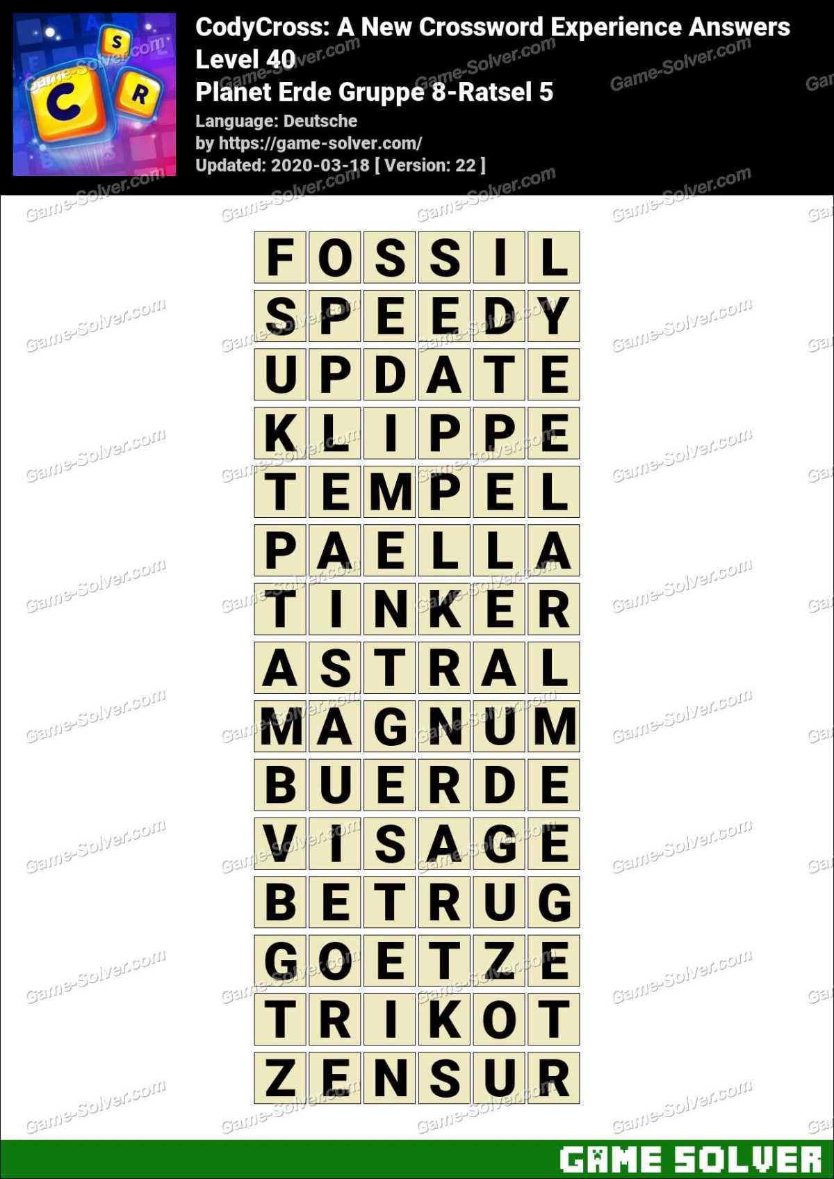 CodyCross Planet Erde Gruppe 8-Ratsel 5 Lösungen