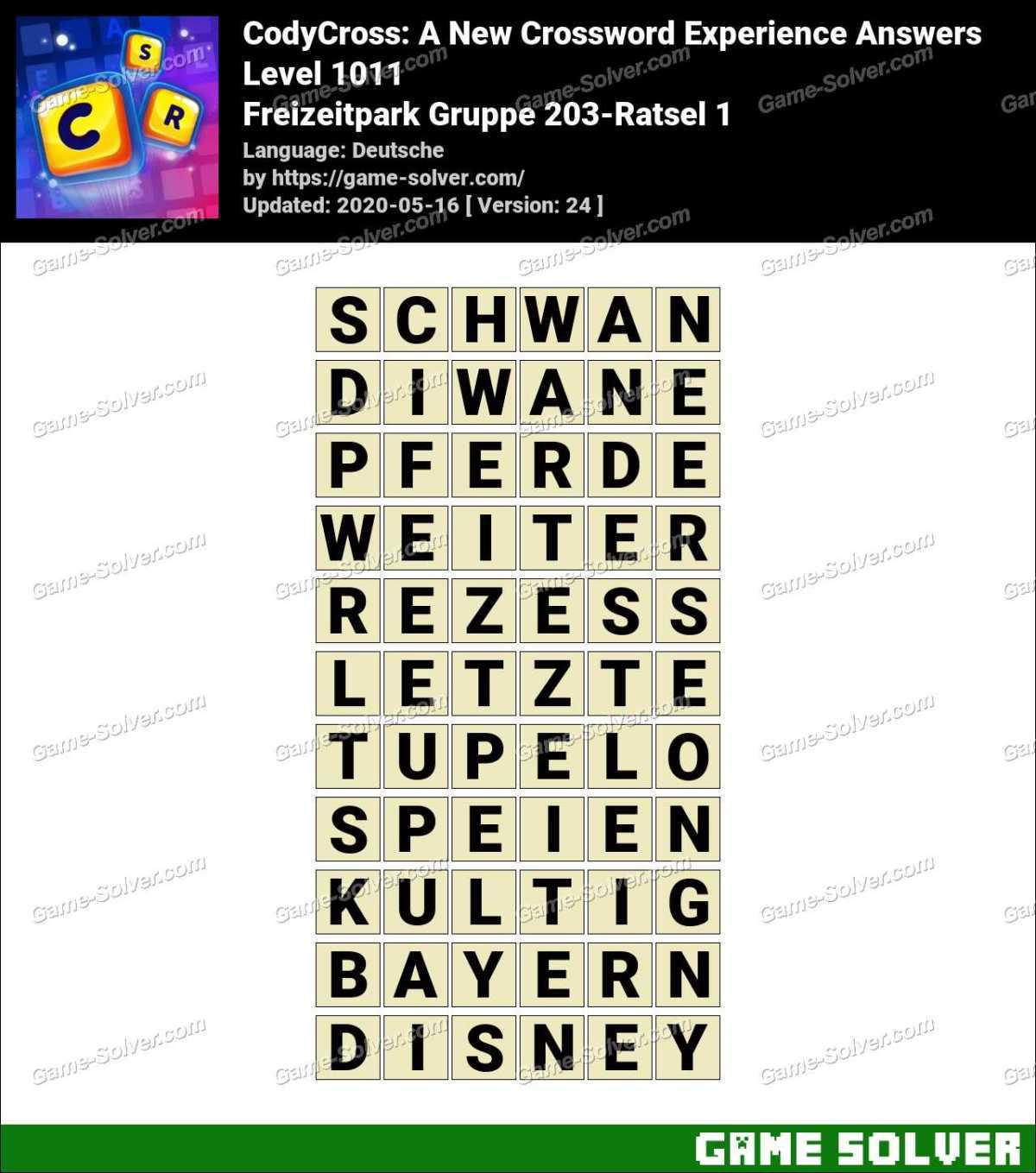 CodyCross Freizeitpark Gruppe 203-Ratsel 1 Lösungen