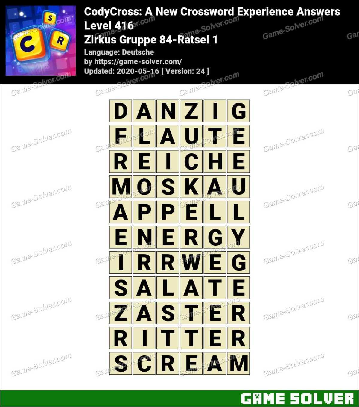 CodyCross Zirkus Gruppe 84-Ratsel 1 Lösungen