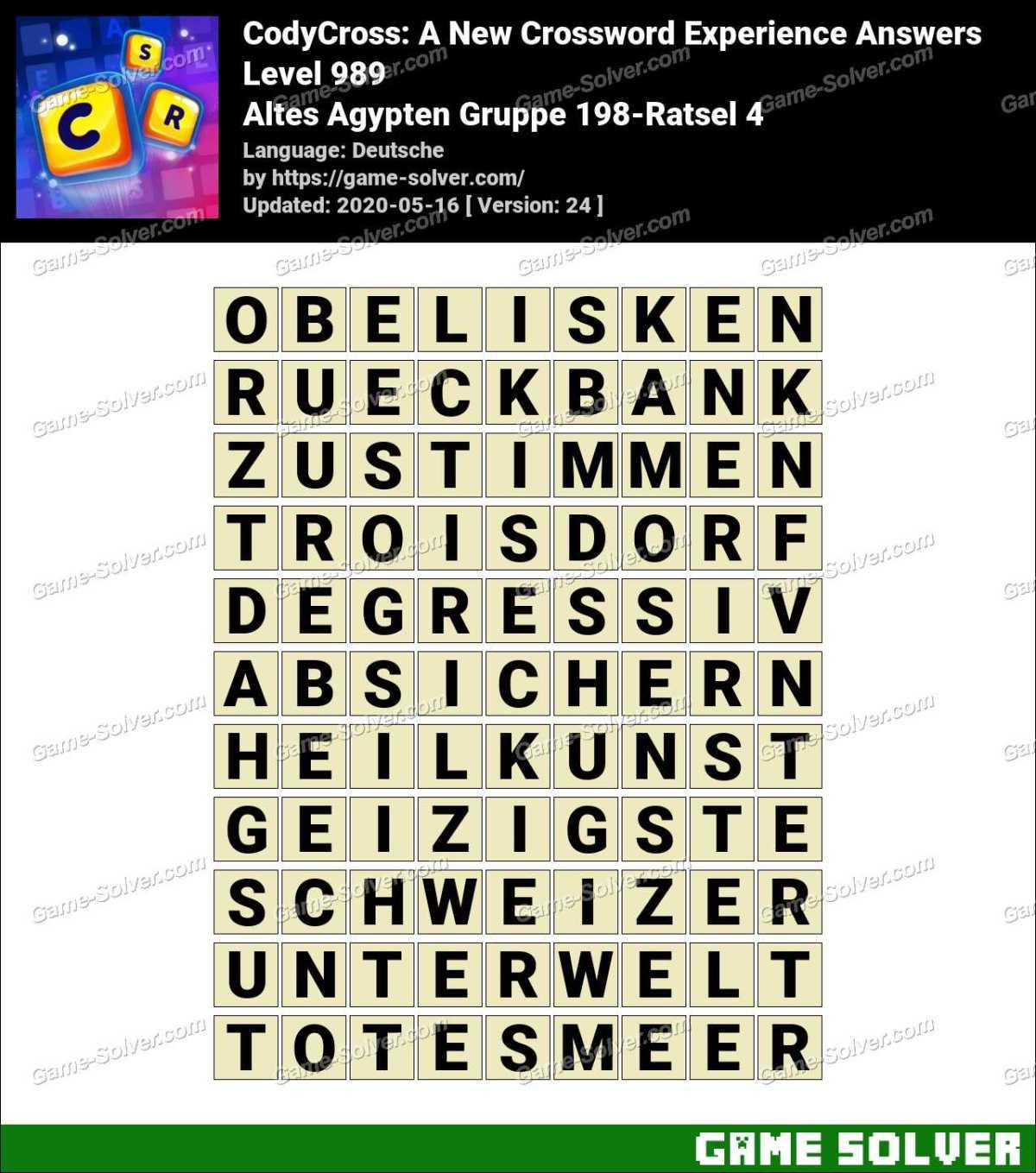 CodyCross Altes Agypten Gruppe 198-Ratsel 4 Lösungen