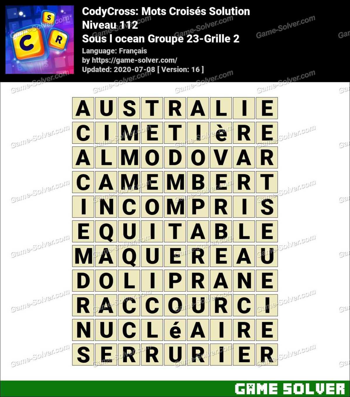 CodyCross Sous l ocean Groupe 23-Grille 2 Solution