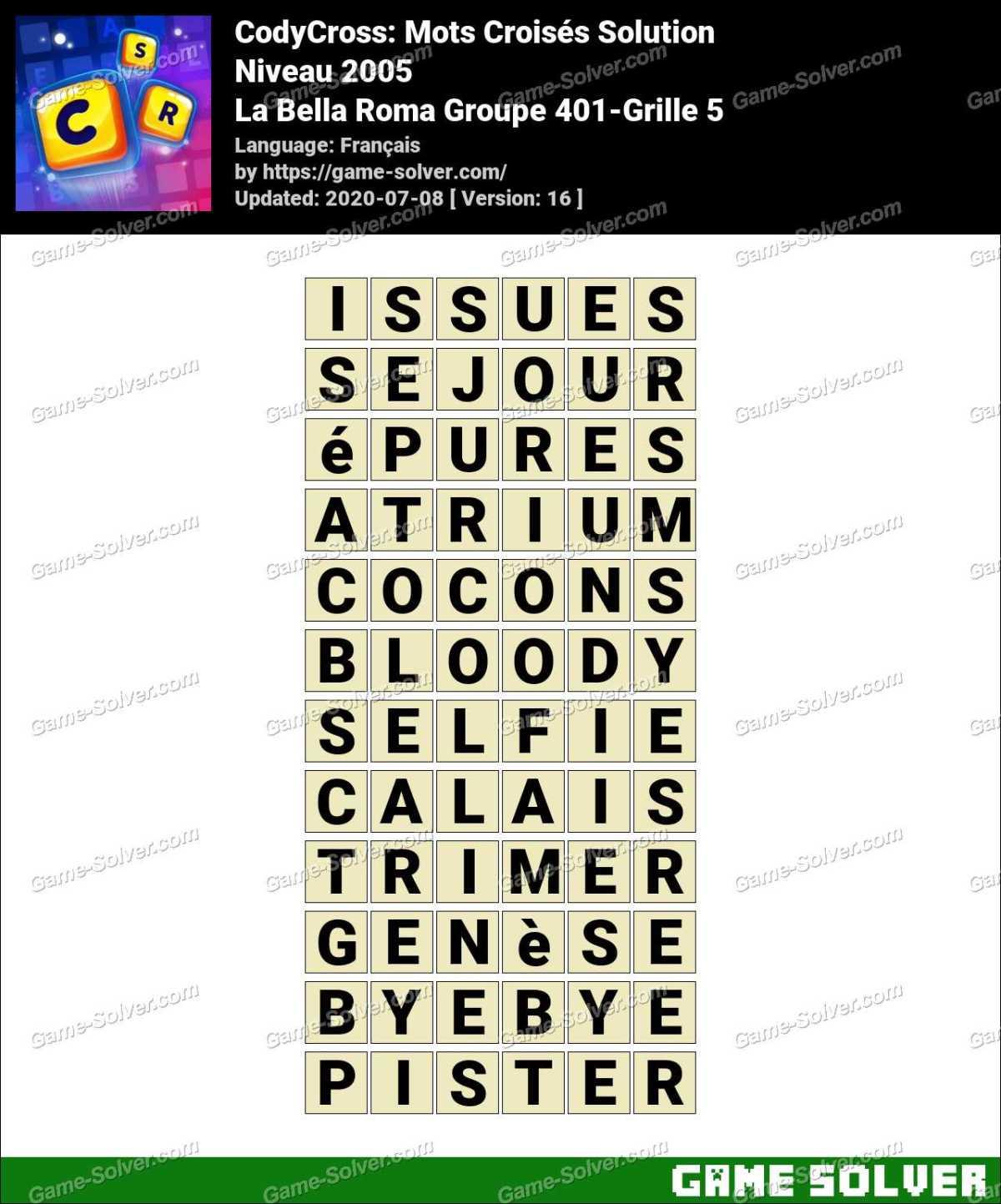 CodyCross La Bella Roma Groupe 401-Grille 5 Solution