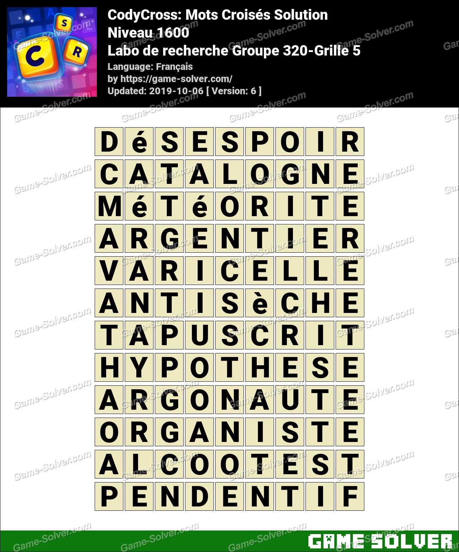 CodyCross Labo de recherche Groupe 320-Grille 5 Solution