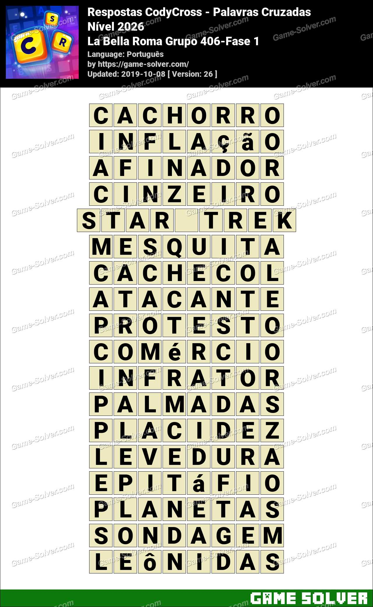 Respostas CodyCross La Bella Roma Grupo 406-Fase 1