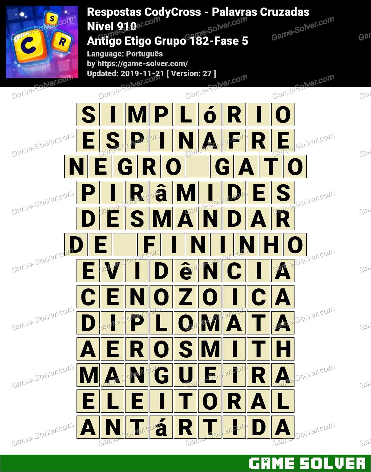 Respostas CodyCross Antigo Etigo Grupo 182-Fase 5