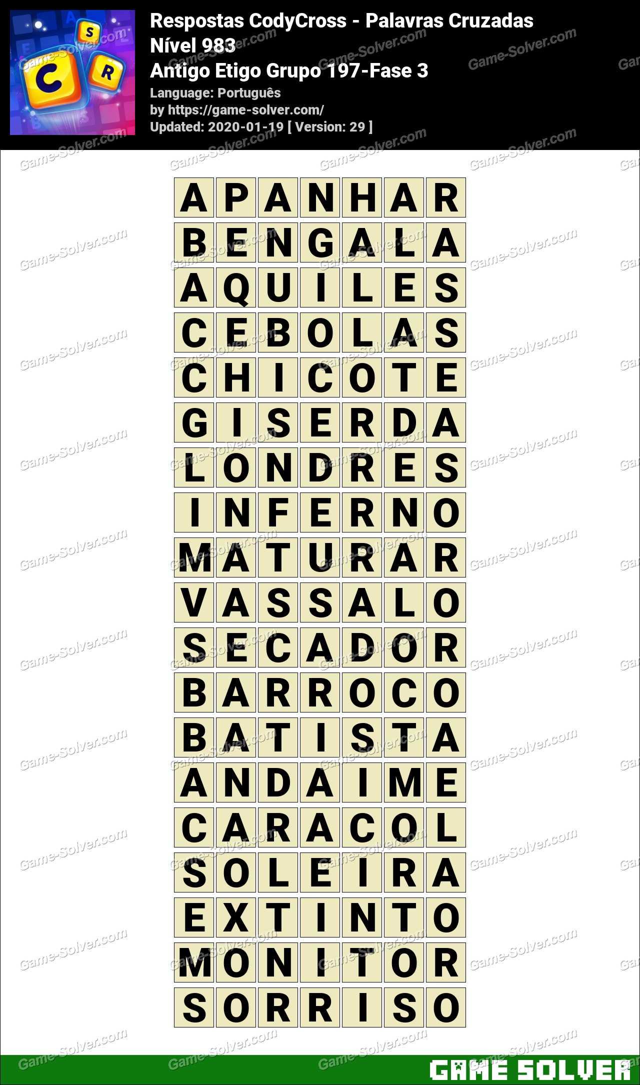 Respostas CodyCross Antigo Etigo Grupo 197-Fase 3