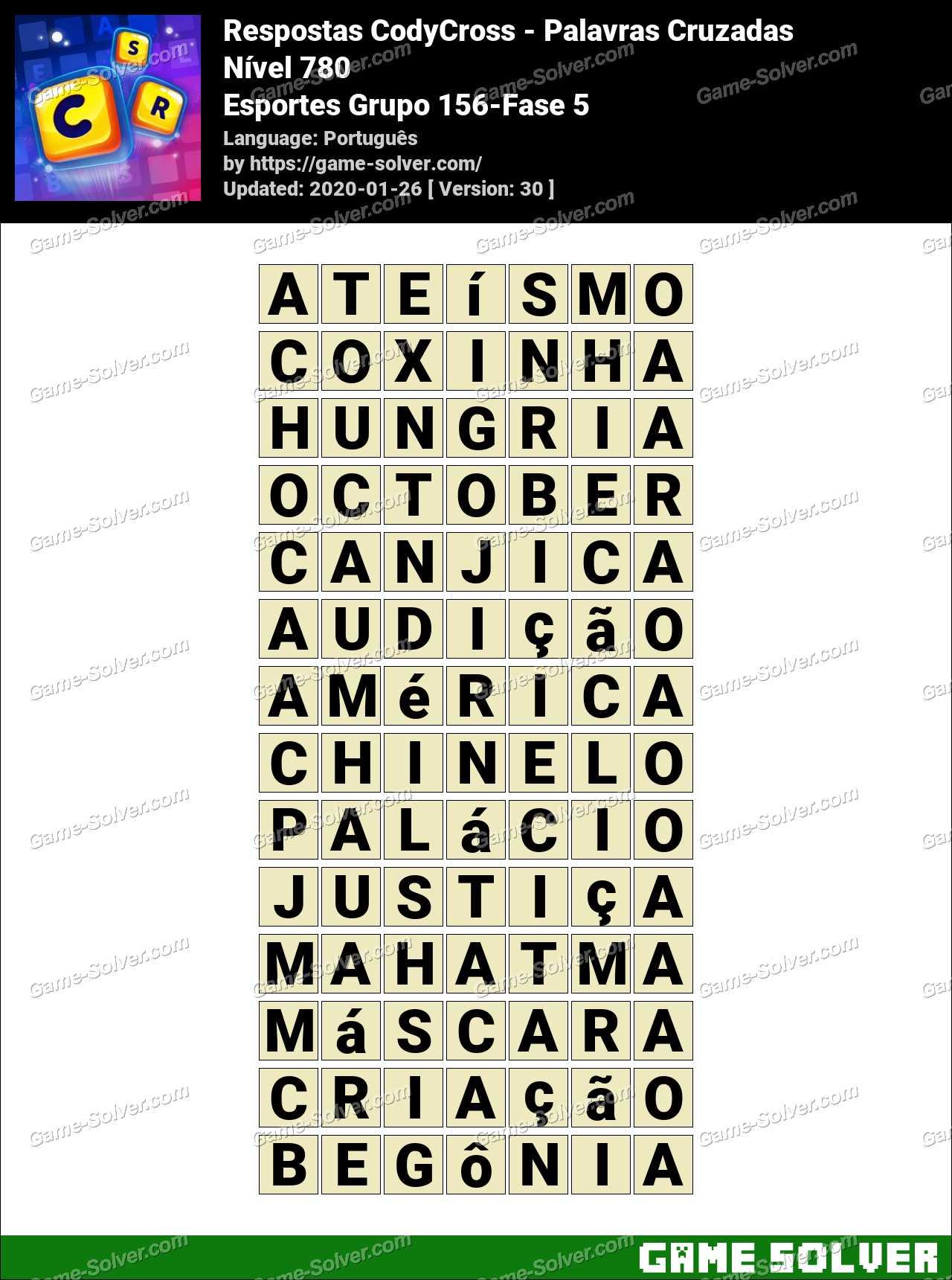 Respostas CodyCross Esportes Grupo 156-Fase 5