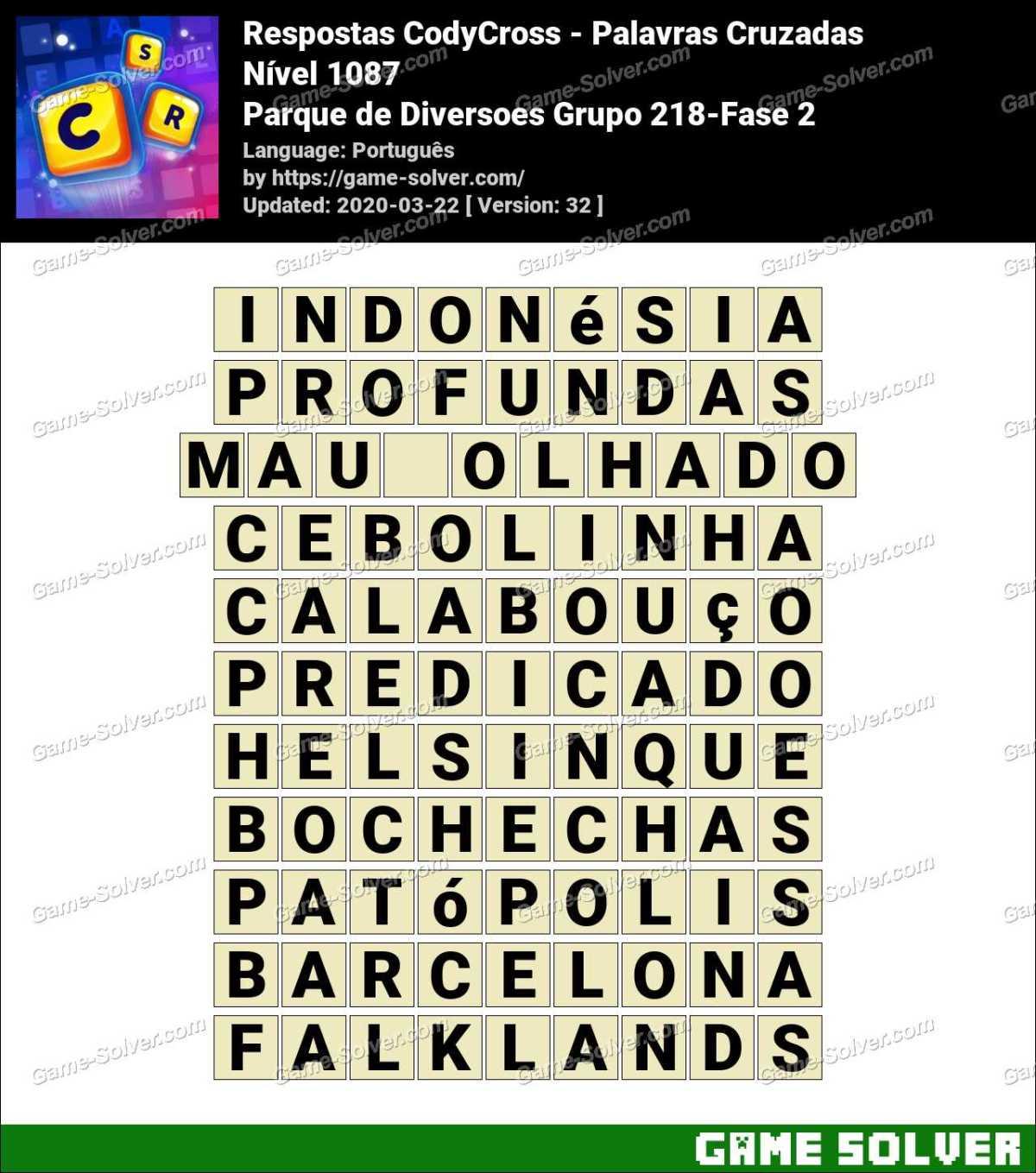 Respostas CodyCross Parque de Diversoes Grupo 218-Fase 2