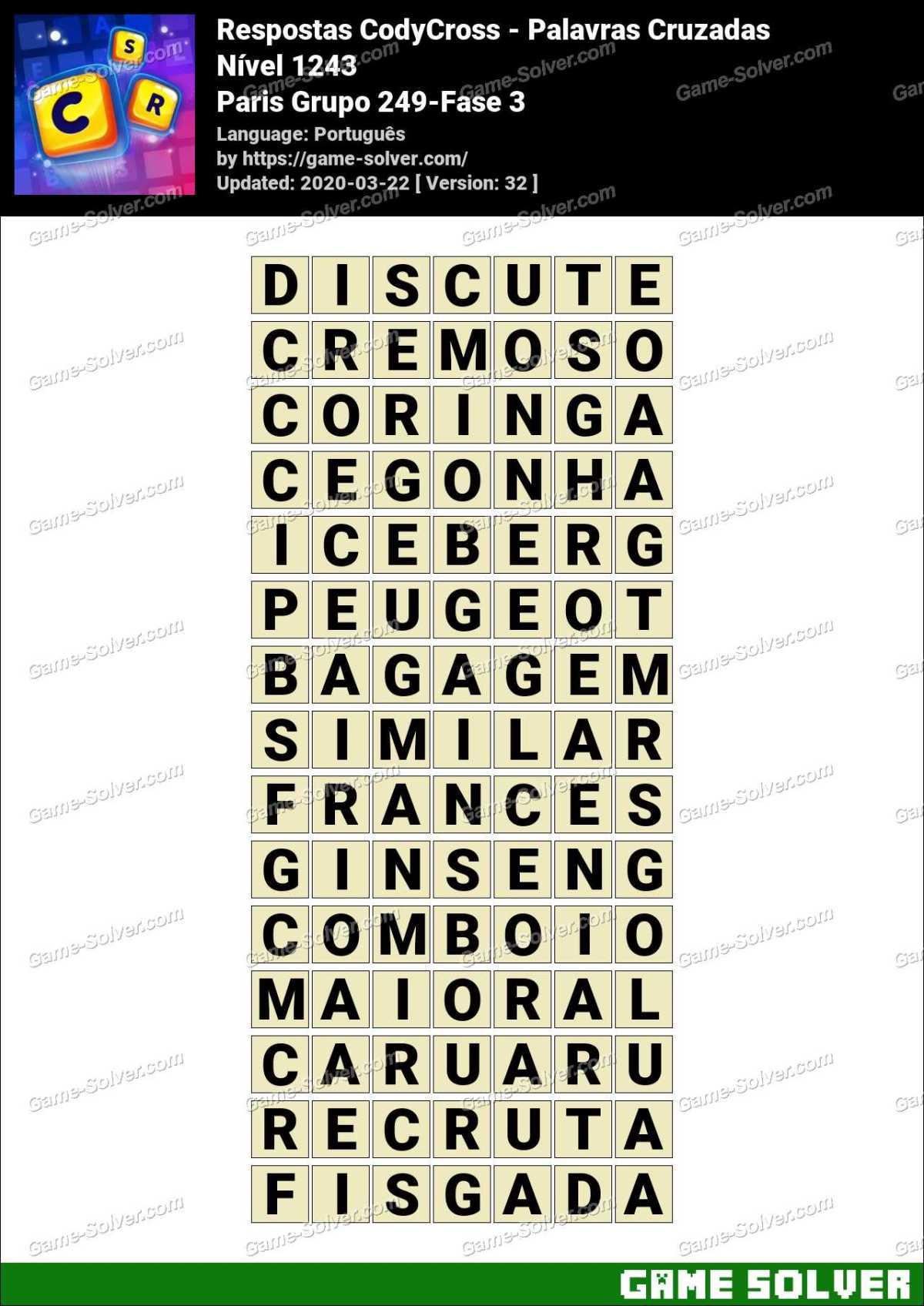 Respostas CodyCross Paris Grupo 249-Fase 3