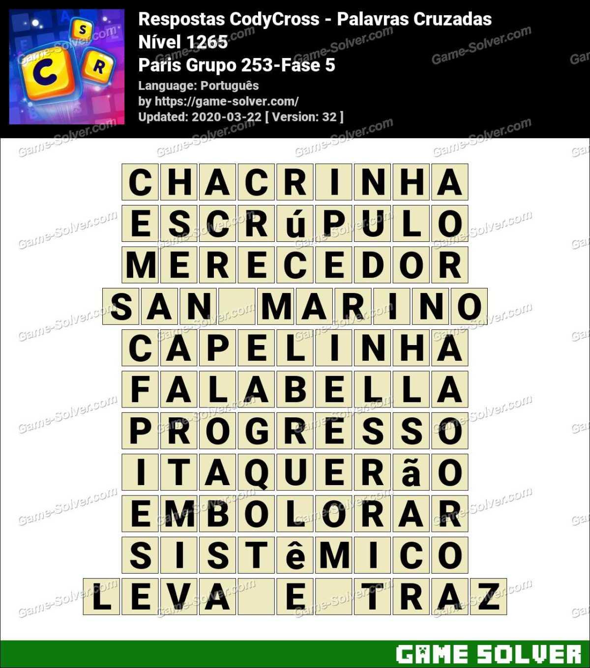 Respostas CodyCross Paris Grupo 253-Fase 5