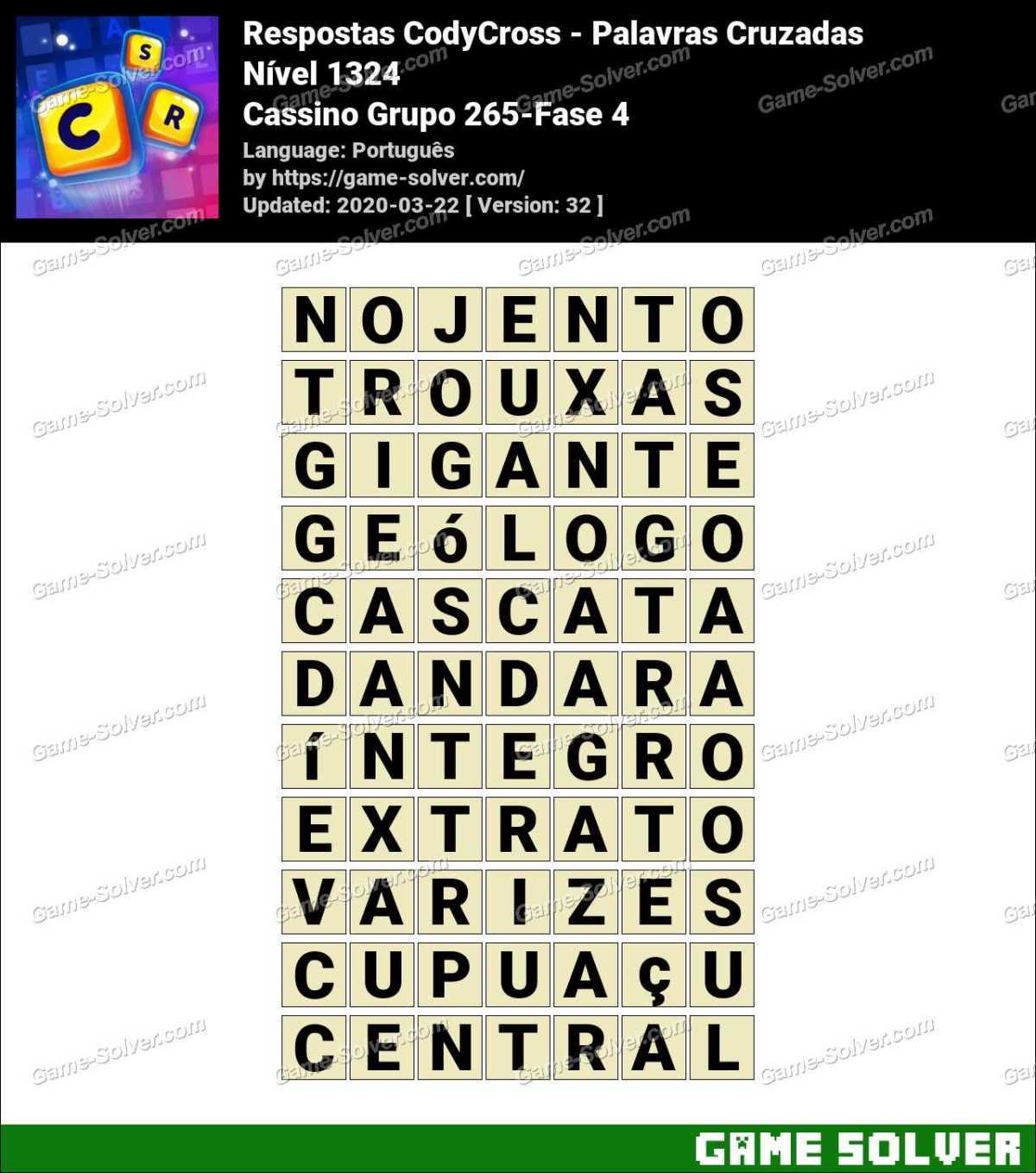 Respostas CodyCross Cassino Grupo 265-Fase 4