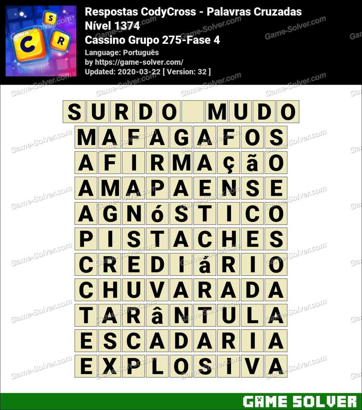 Respostas CodyCross Cassino Grupo 275-Fase 4