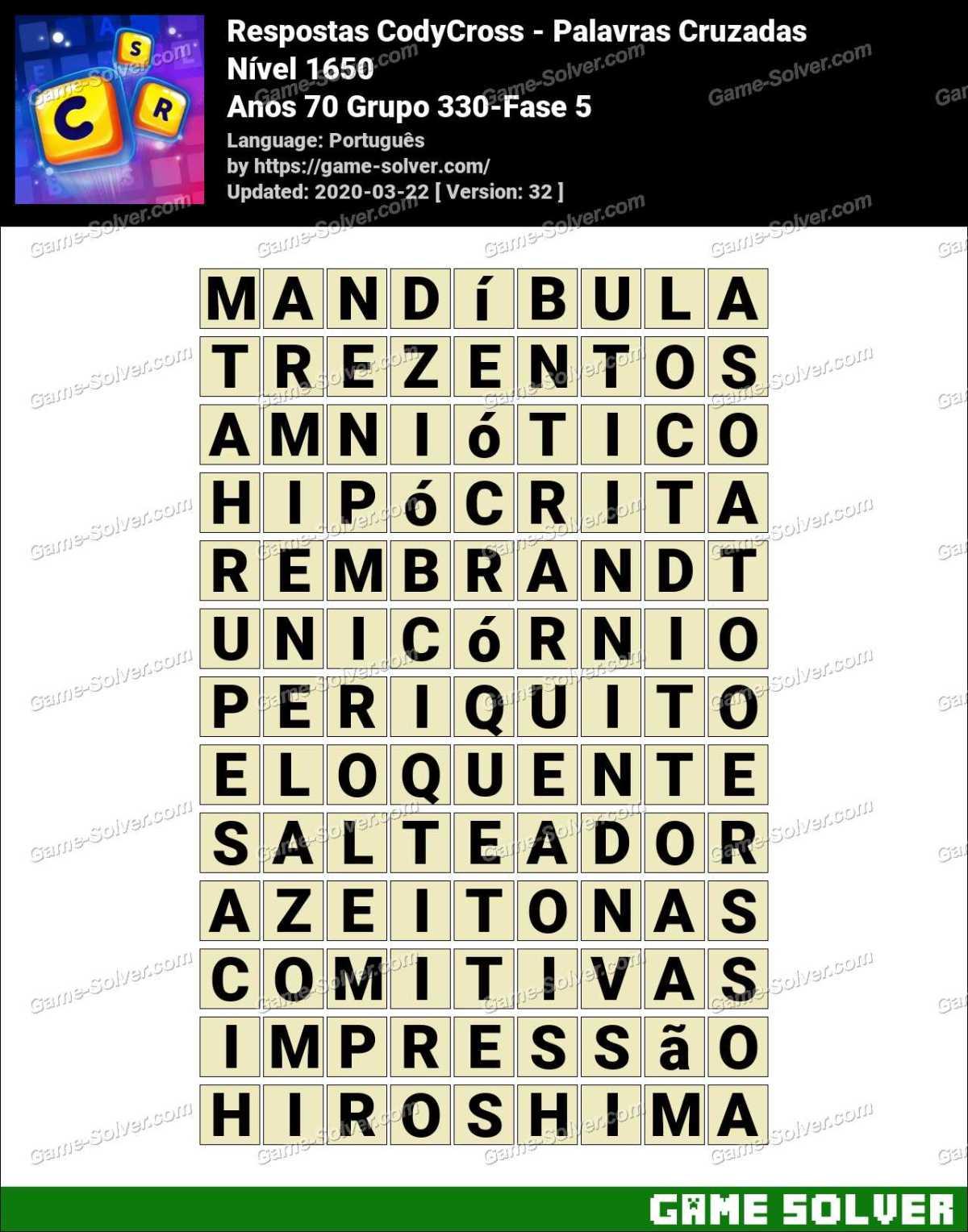 Respostas CodyCross Anos 70 Grupo 330-Fase 5
