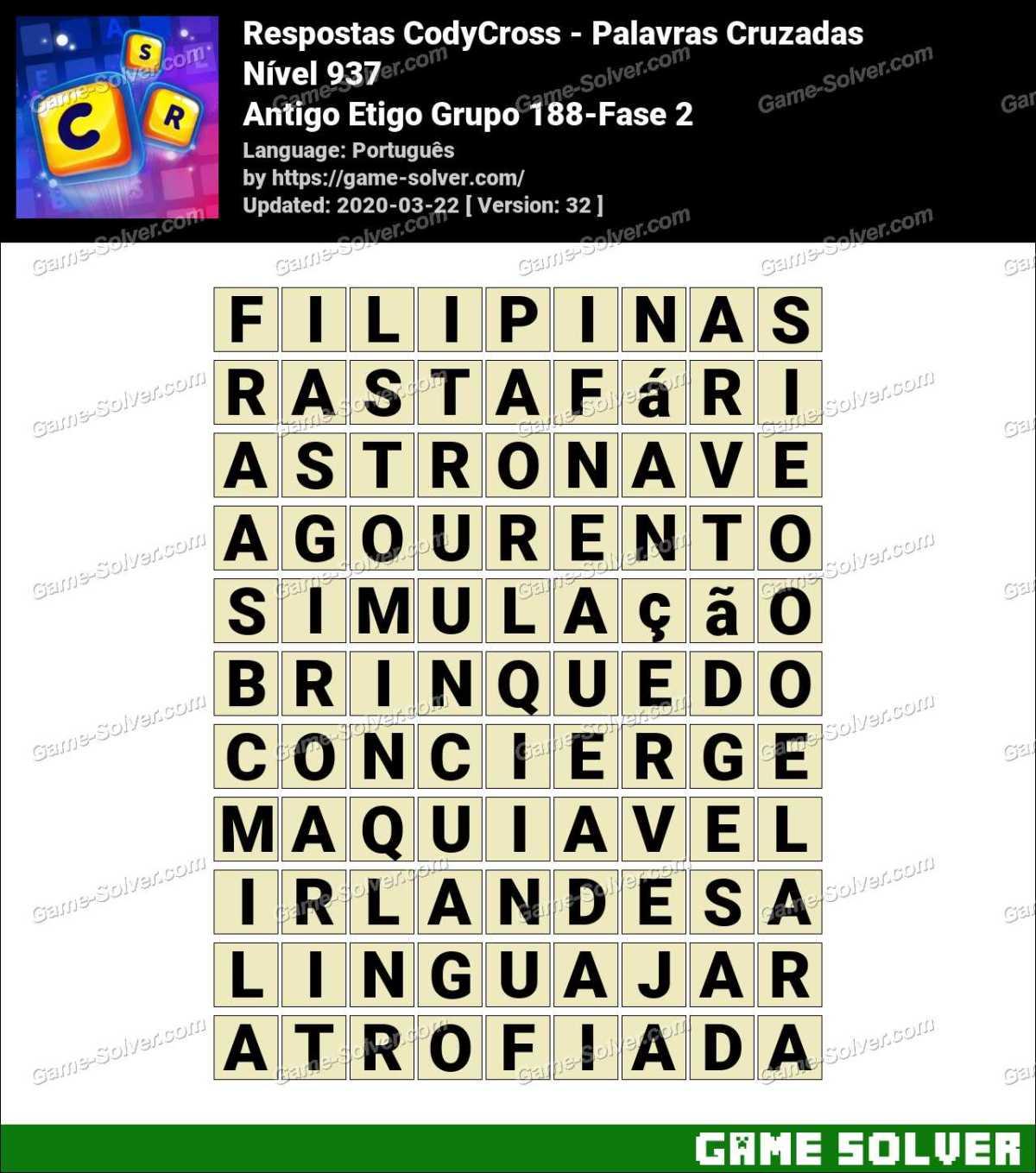 Respostas CodyCross Antigo Etigo Grupo 188-Fase 2