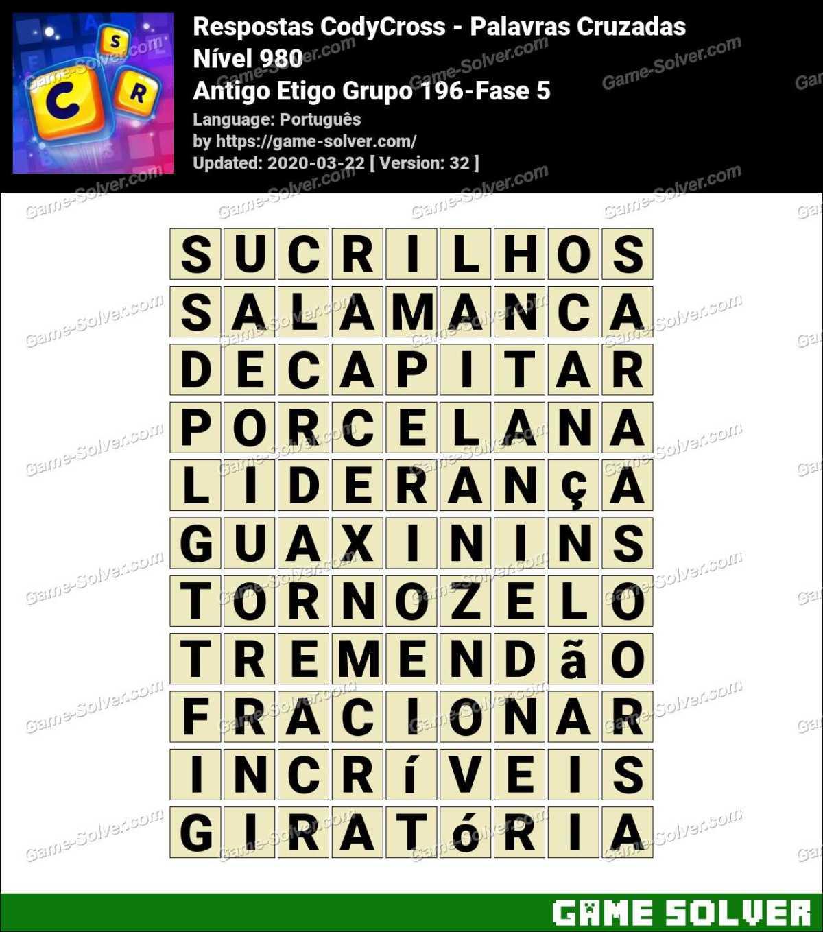 Respostas CodyCross Antigo Etigo Grupo 196-Fase 5