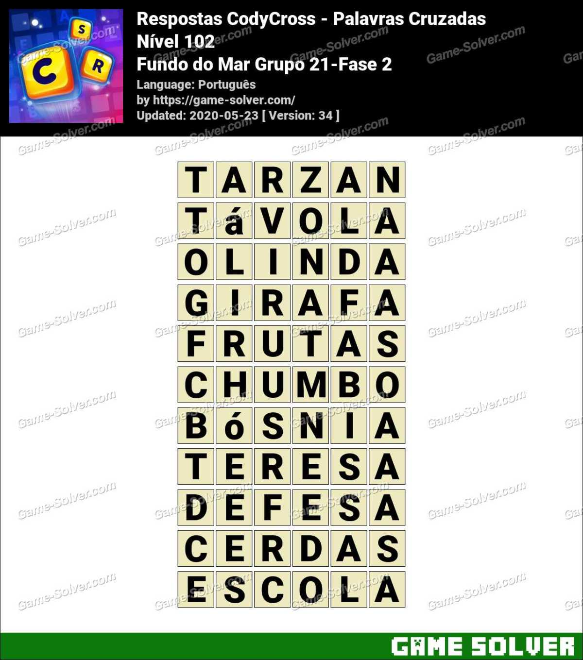 Respostas CodyCross Fundo do Mar Grupo 21-Fase 2