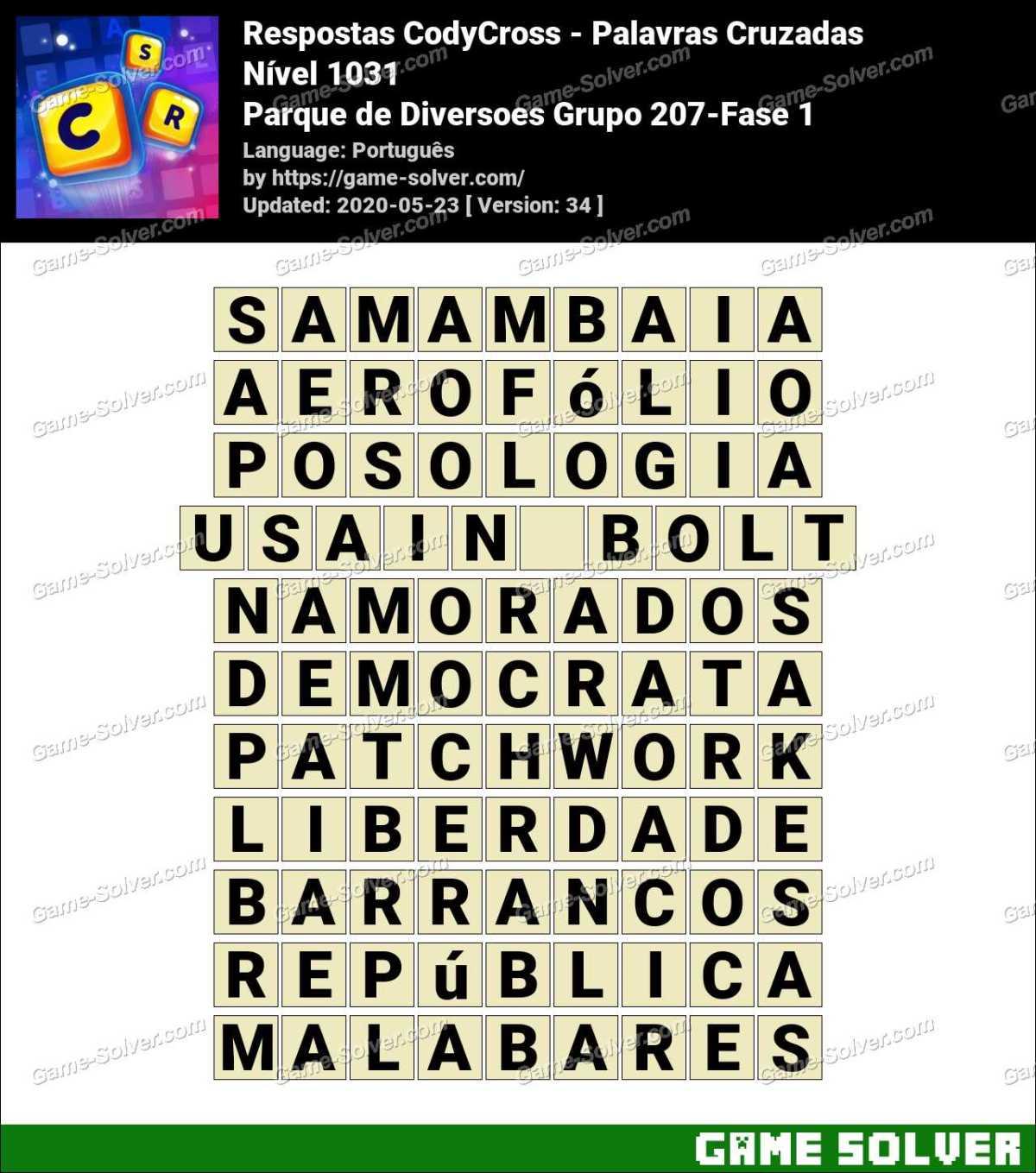 Respostas CodyCross Parque de Diversoes Grupo 207-Fase 1