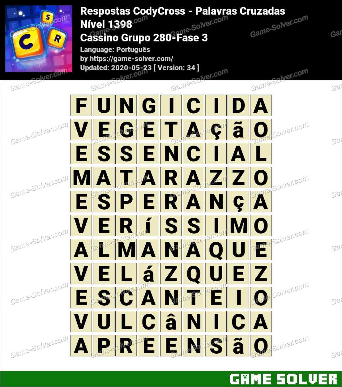 Respostas CodyCross Cassino Grupo 280-Fase 3
