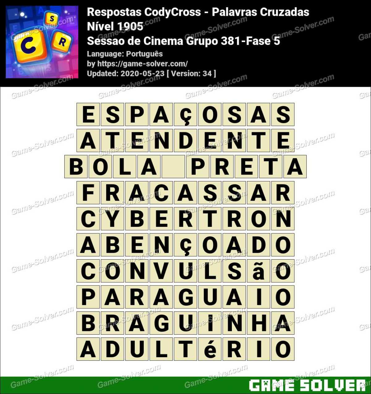 Respostas CodyCross Sessao de Cinema Grupo 381-Fase 5