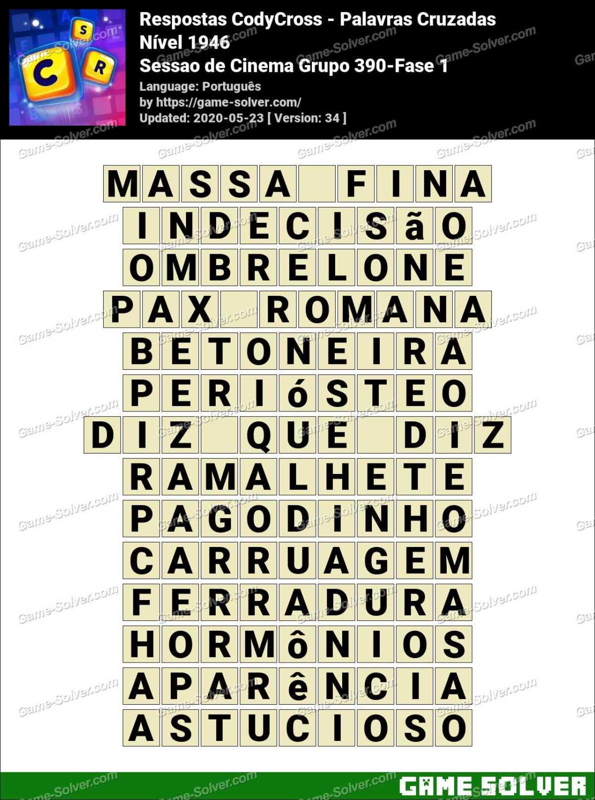 Respostas CodyCross Sessao de Cinema Grupo 390-Fase 1