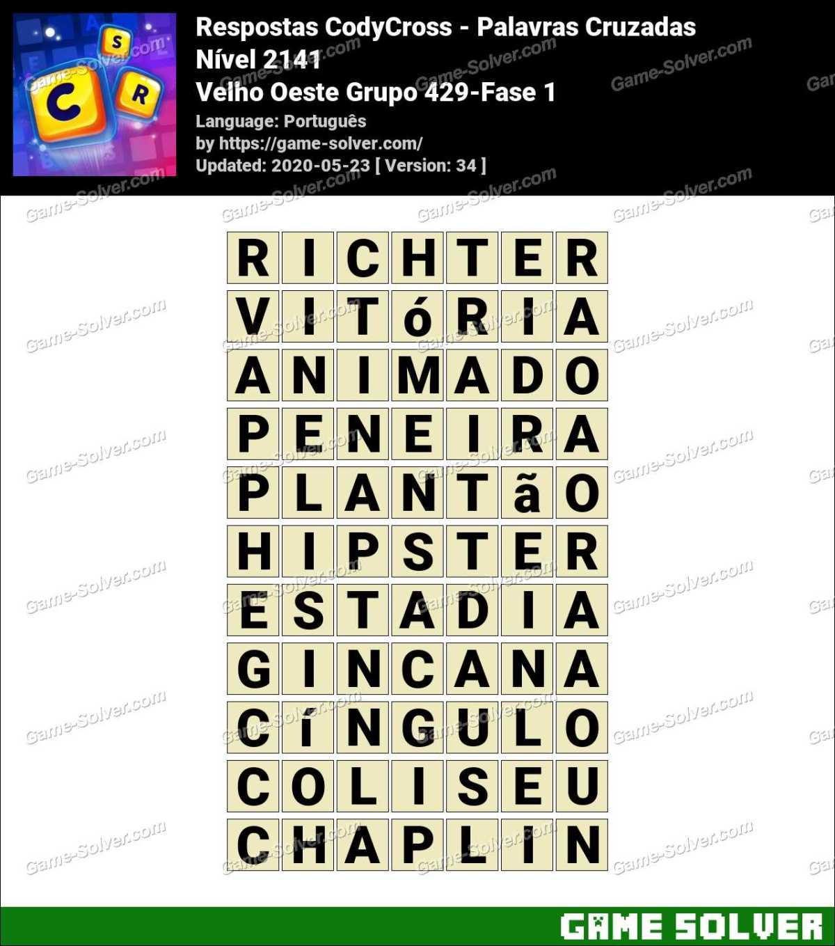 Respostas CodyCross Velho Oeste Grupo 429-Fase 1