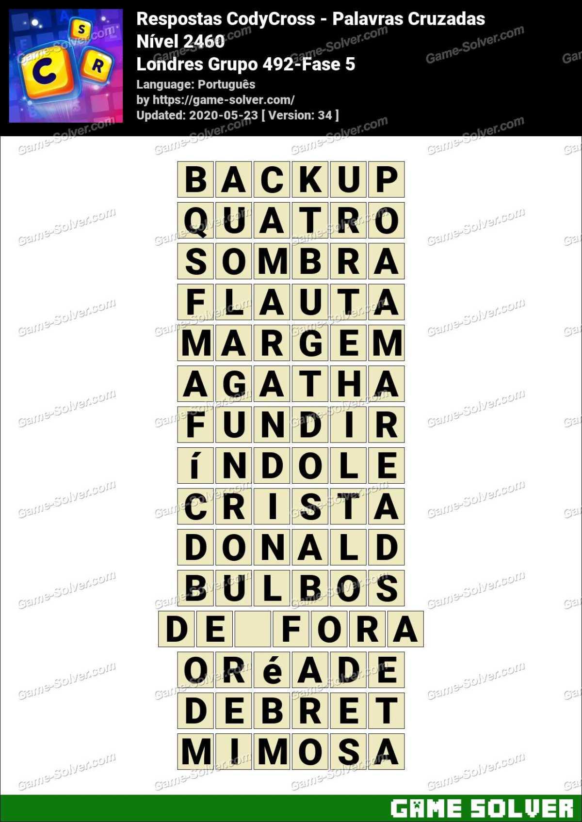 Respostas CodyCross Londres Grupo 492-Fase 5