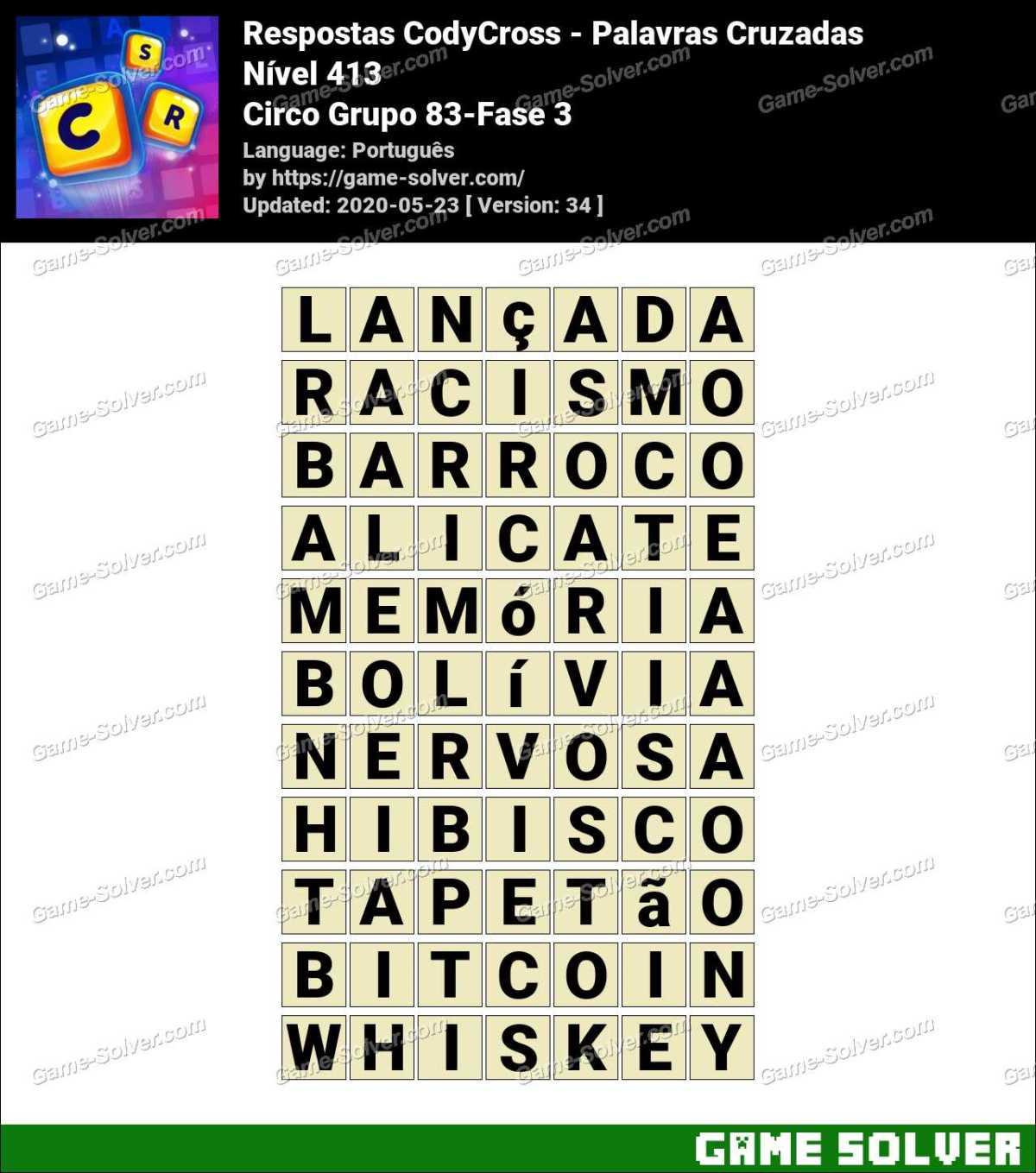Respostas CodyCross Circo Grupo 83-Fase 3