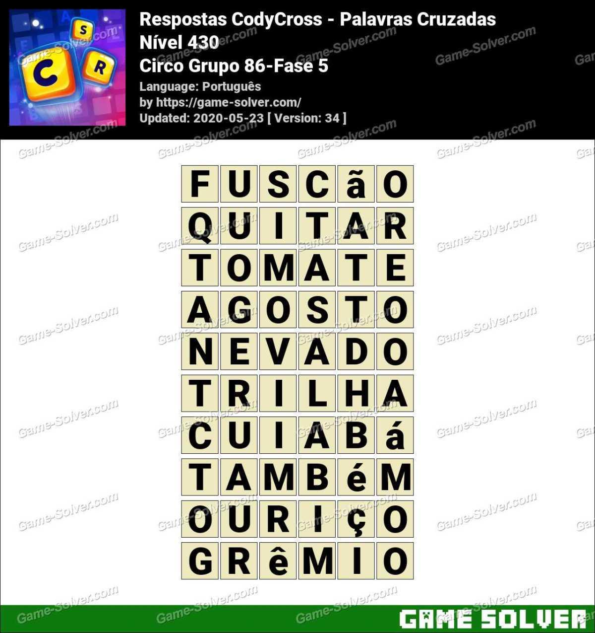 Respostas CodyCross Circo Grupo 86-Fase 5