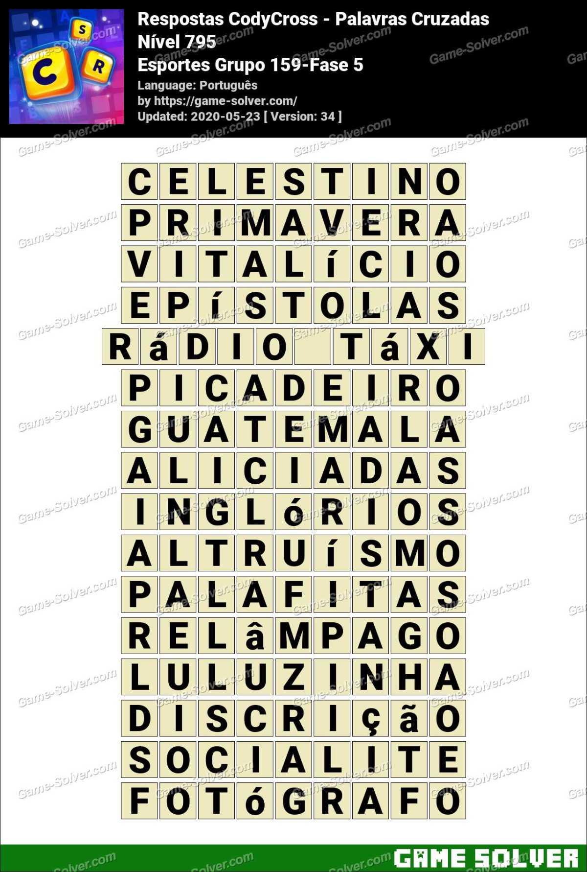 Respostas CodyCross Esportes Grupo 159-Fase 5