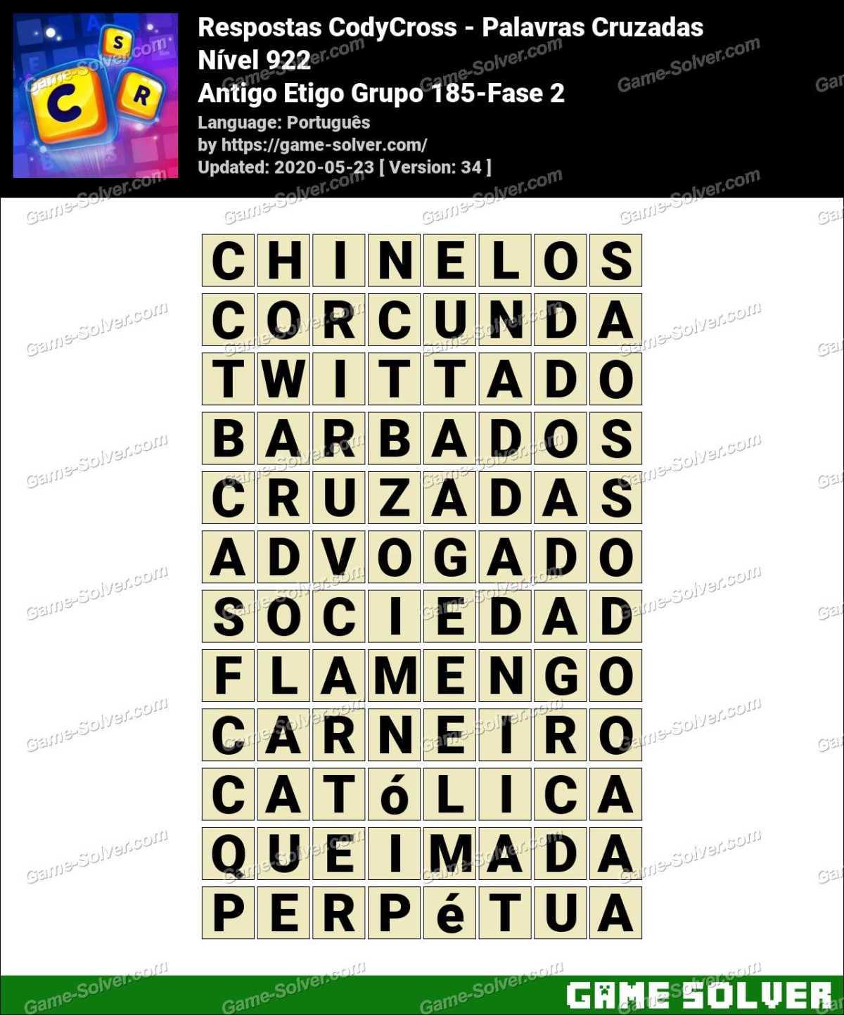 Respostas CodyCross Antigo Etigo Grupo 185-Fase 2