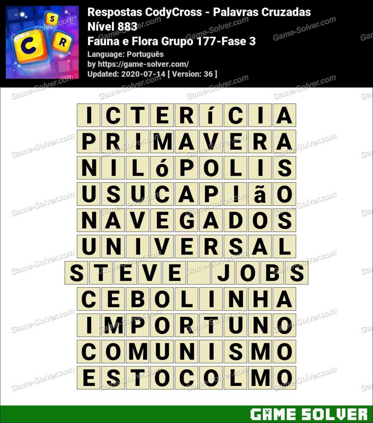 Respostas CodyCross Fauna e Flora Grupo 177-Fase 3