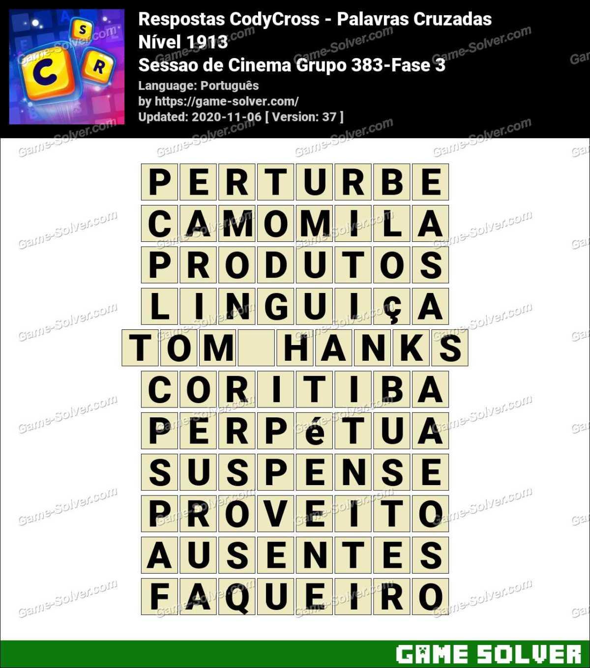 Respostas CodyCross Sessao de Cinema Grupo 383-Fase 3