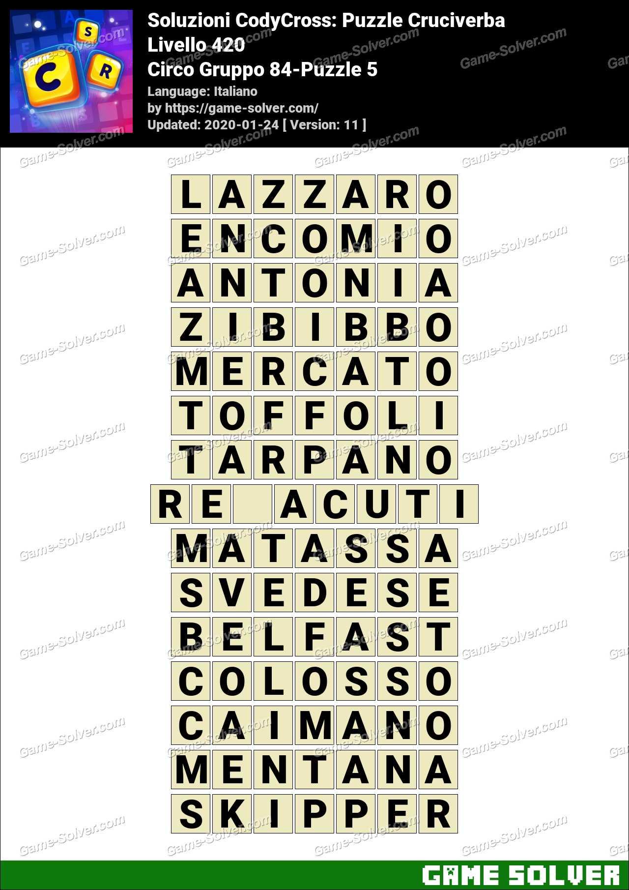 Soluzioni CodyCross Circo Gruppo 84-Puzzle 5