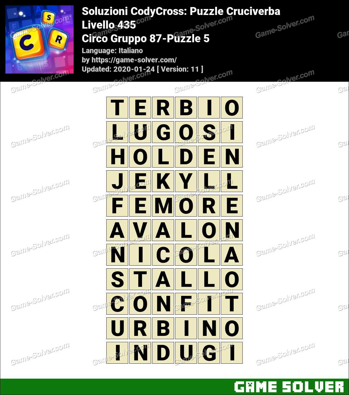Soluzioni CodyCross Circo Gruppo 87-Puzzle 5
