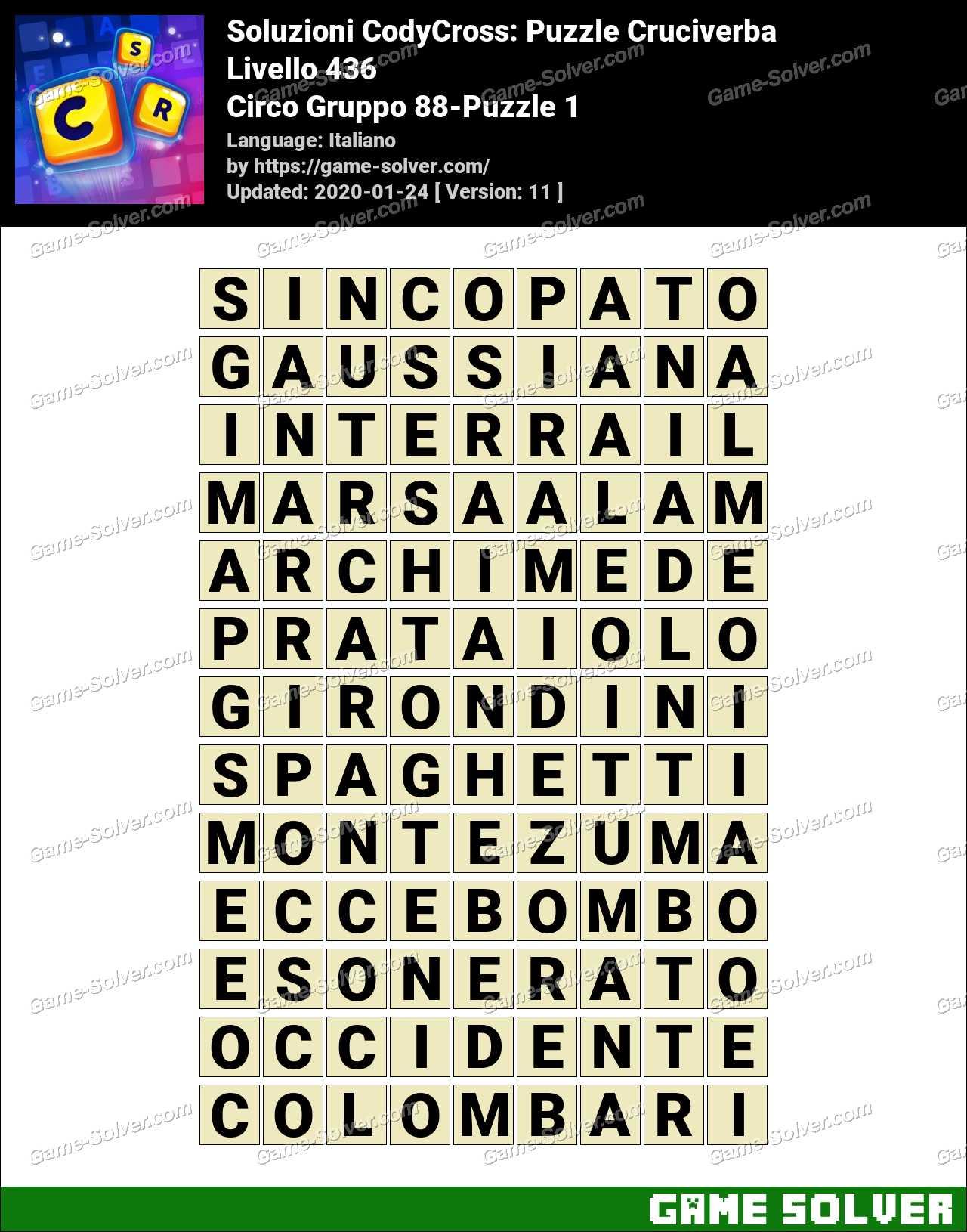 Soluzioni CodyCross Circo Gruppo 88-Puzzle 1