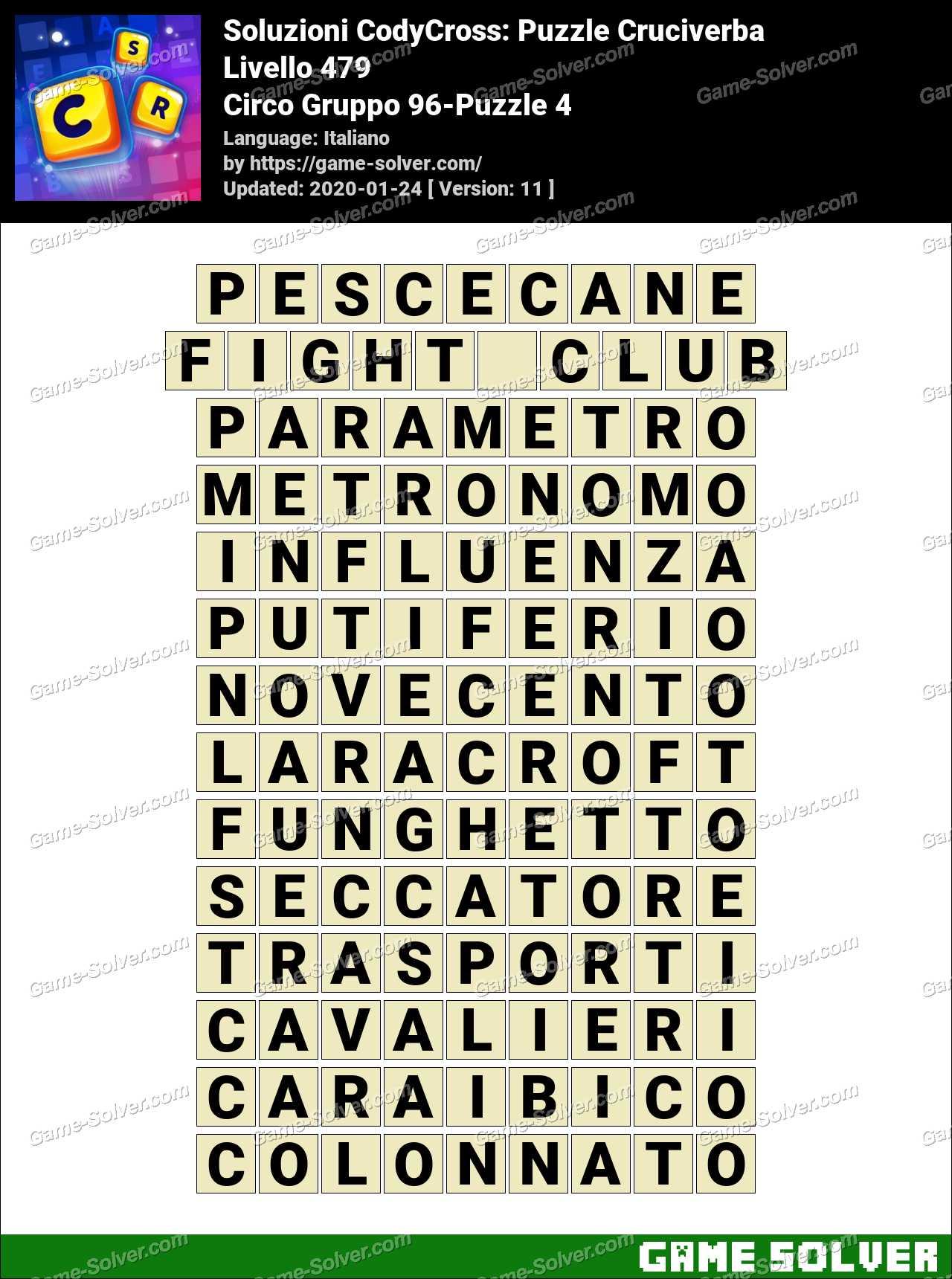 Soluzioni CodyCross Circo Gruppo 96-Puzzle 4