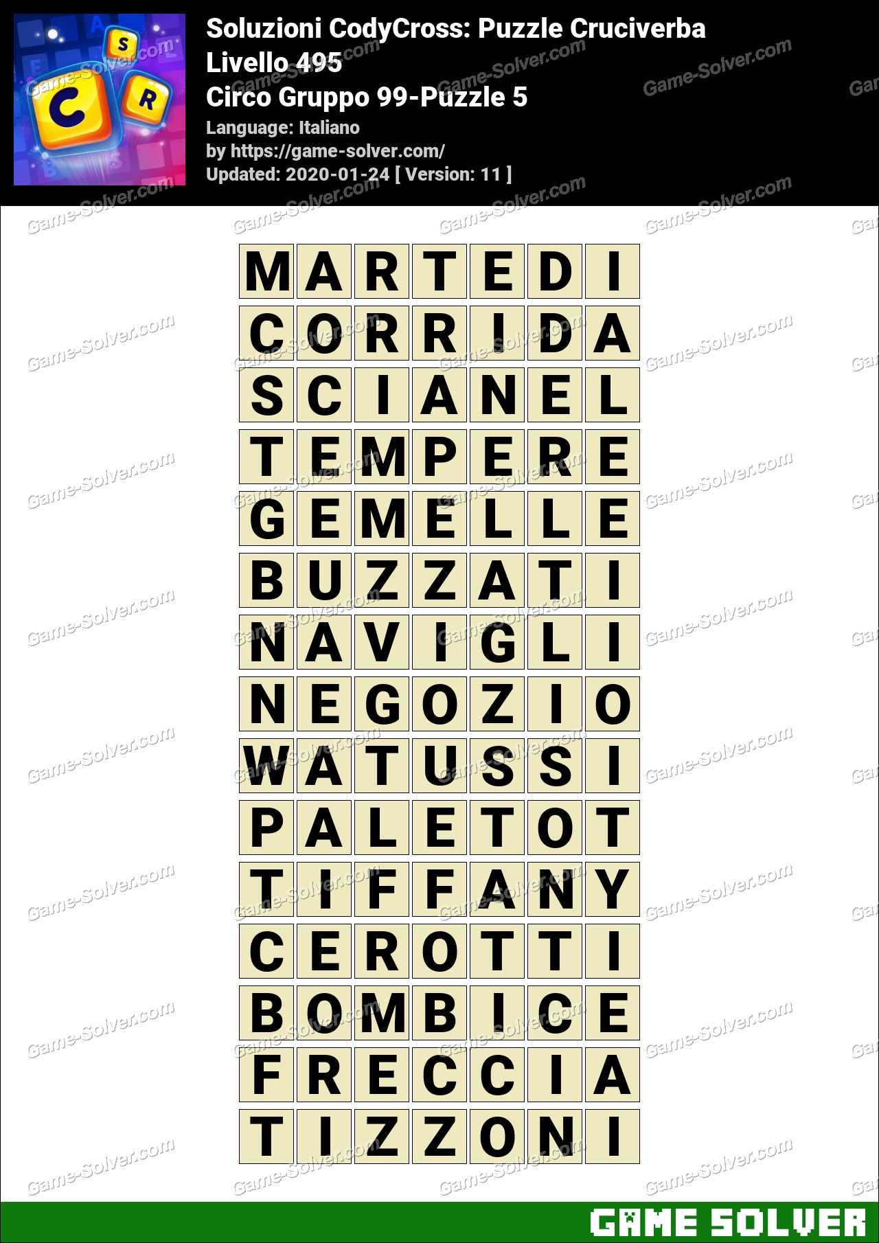 Soluzioni CodyCross Circo Gruppo 99-Puzzle 5