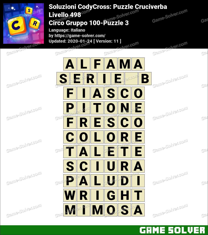Soluzioni CodyCross Circo Gruppo 100-Puzzle 3