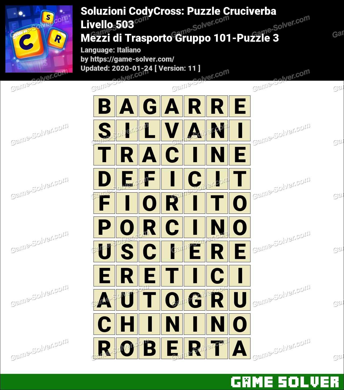 Soluzioni CodyCross Mezzi di Trasporto Gruppo 101-Puzzle 3