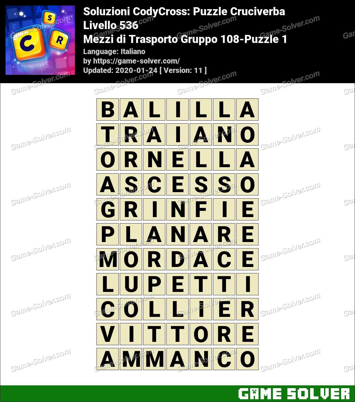 Soluzioni CodyCross Mezzi di Trasporto Gruppo 108-Puzzle 1