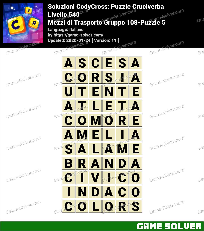 Soluzioni CodyCross Mezzi di Trasporto Gruppo 108-Puzzle 5