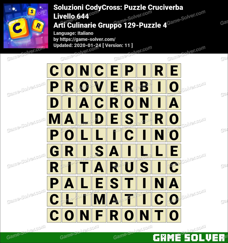 Soluzioni CodyCross Arti Culinarie Gruppo 129-Puzzle 4