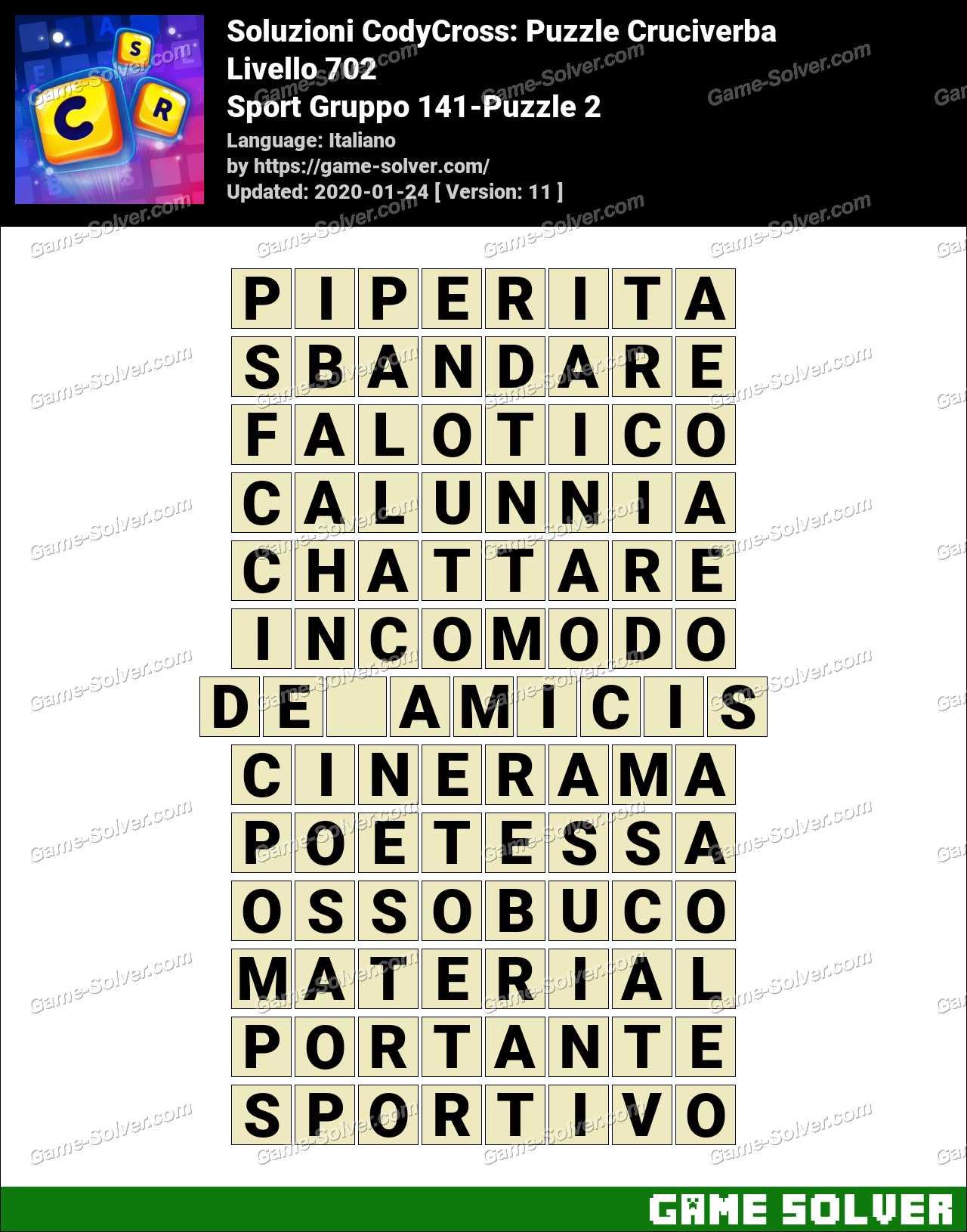 Soluzioni CodyCross Sport Gruppo 141-Puzzle 2