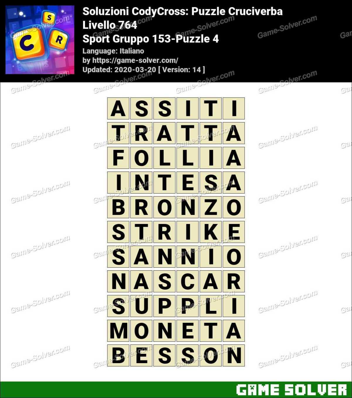 Soluzioni CodyCross Sport Gruppo 153-Puzzle 4