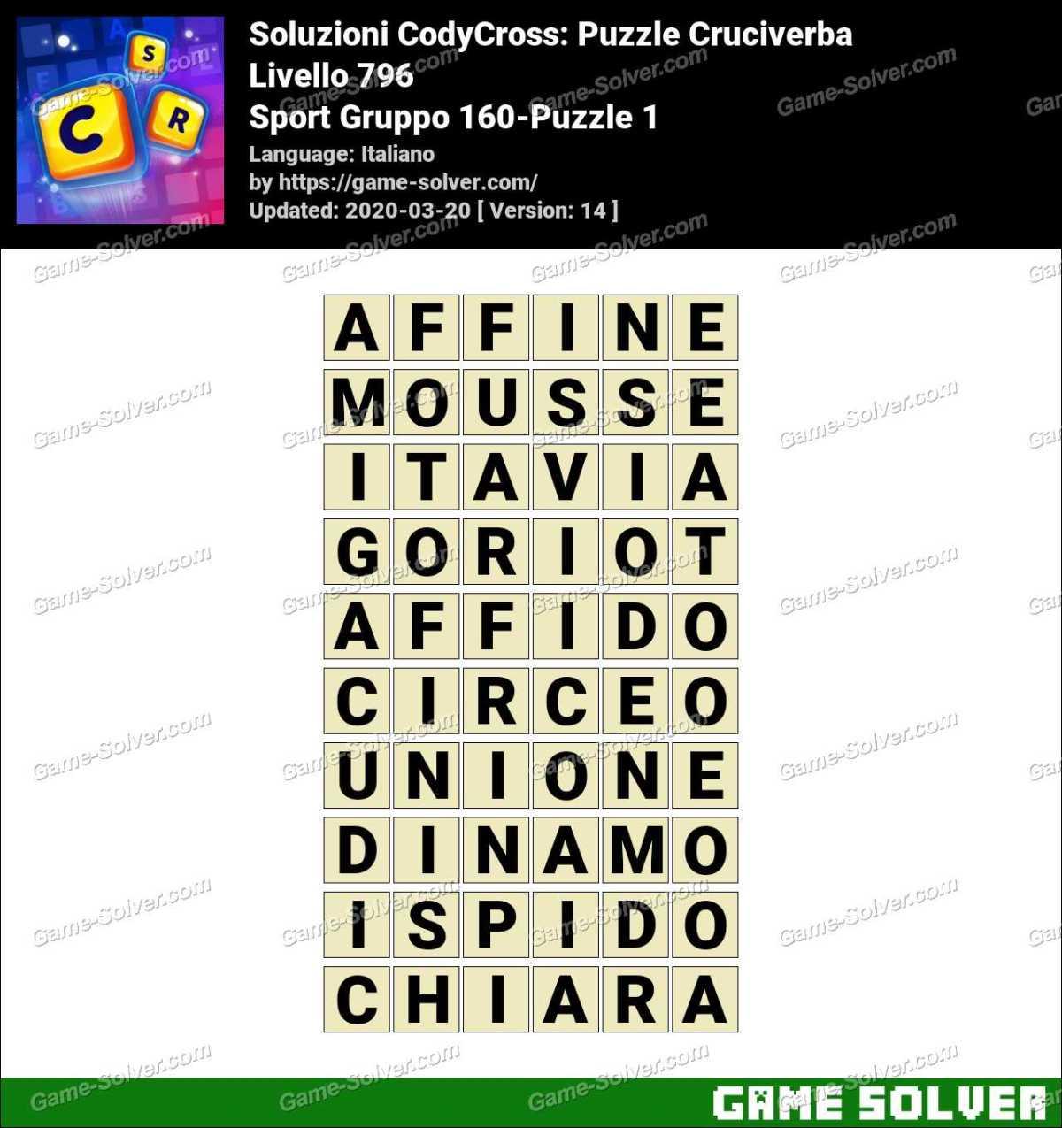Soluzioni CodyCross Sport Gruppo 160-Puzzle 1