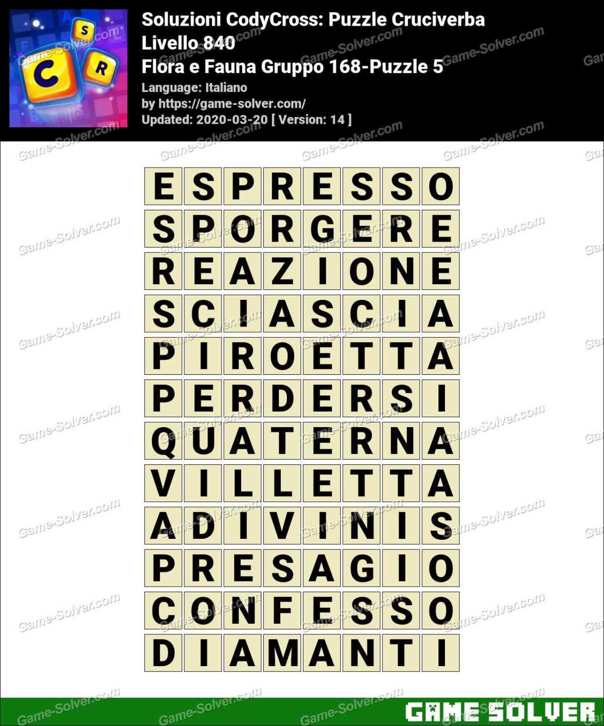Soluzioni CodyCross Flora e Fauna Gruppo 168-Puzzle 5